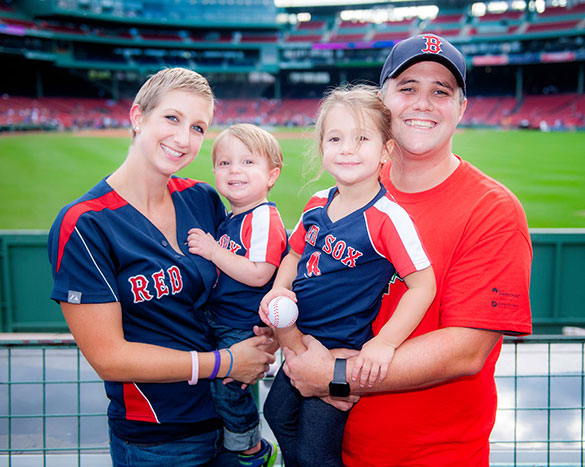 A Dana-Farber patient and her family at Fenway Park