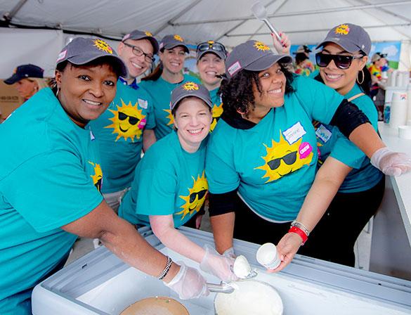Volunteers scoop ice cream at Jimmy Fund Scooper Bowl