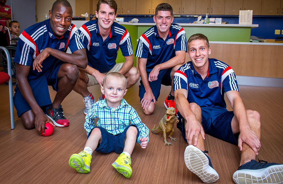 New England Revolution visits Dana-Farber Cancer Institute as part of the partnership between Dana-Farber and the Revolution team