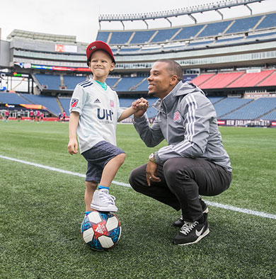 Dana-Farber Patient and soccer fanatic Bernard meets New England Revolution player