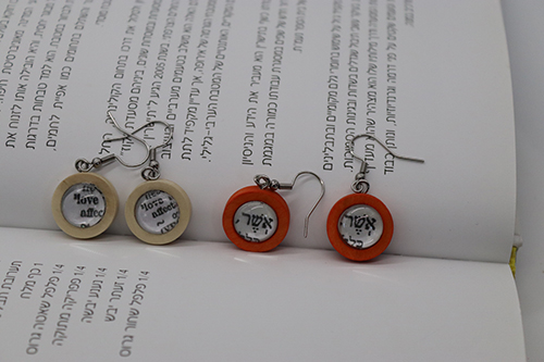Earrings with Magnified Word