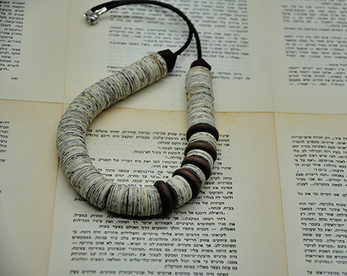 Hedva Klein Necklace from only Book Paper and Wooden Beads 2