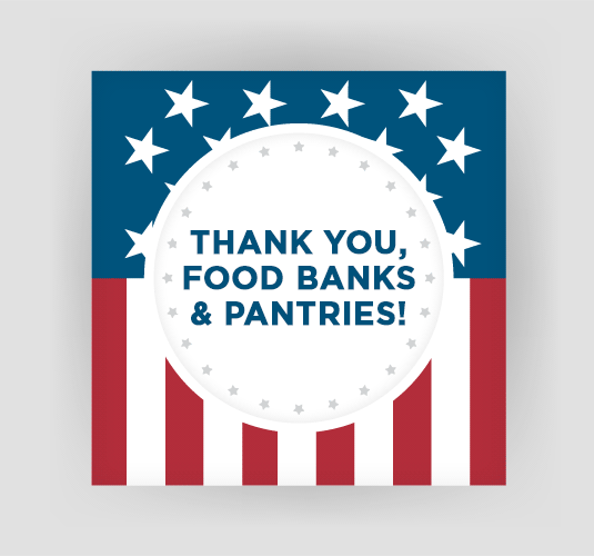 Thank you to food banks and pantries on flag background Card