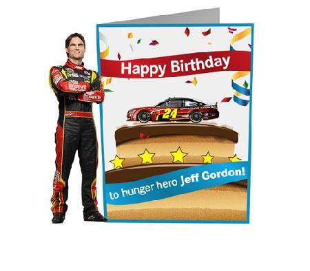 Sign hunger hero Jeff Gordons birthday card AARP Foundation – Nascar Birthday Cards