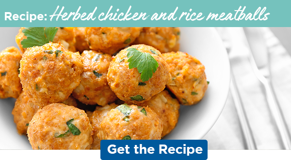 Recipe: Herbed chicken and rice meatballs   Get the Recipe