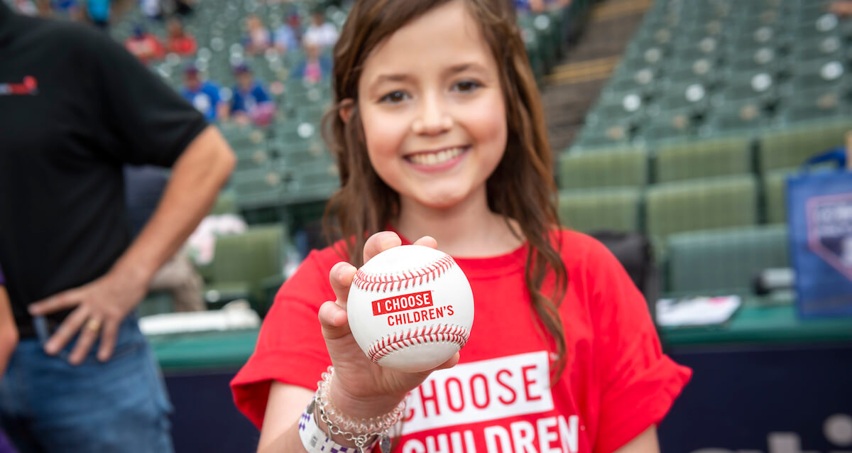 Katie Thomson Bats Away Cancer at Texas Rangers Game