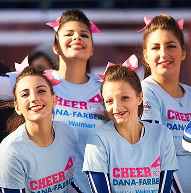 Cheer for Dana Farber® squad posing on Gillette Stadium field
