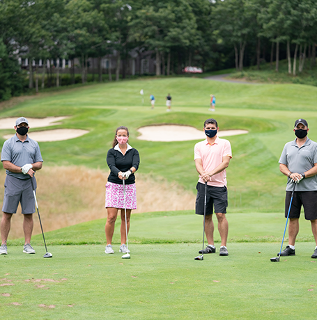 Four socially distant golfers supporting Jimmy Fund Golf