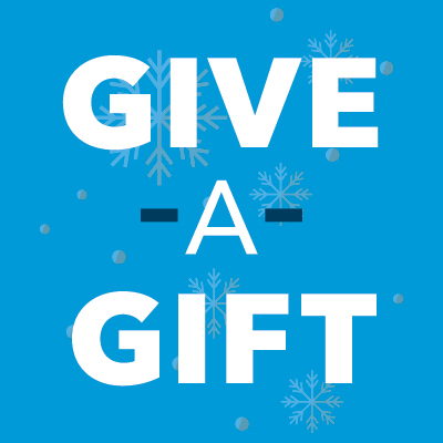Logo-Give-a-Gift image Blue background with white text that says Give a Gift.