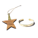 "JustOne Brass Cuff and Olivewood ""Freedom"" Ornament"