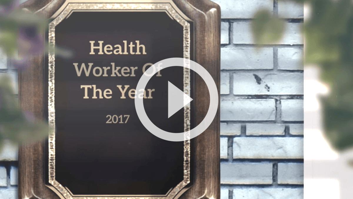 Health Worker Of The Year 2017 plaque