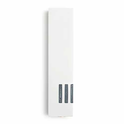 """White Mezuzah - Wide with Gray """"Shin"""" on the Side"""