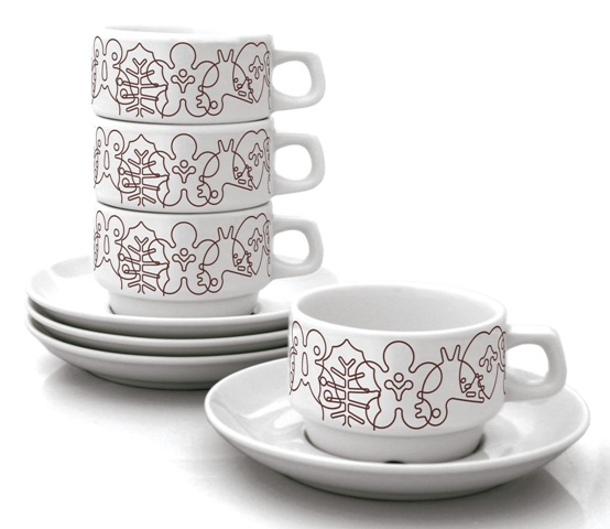 brown season cup and saucer set