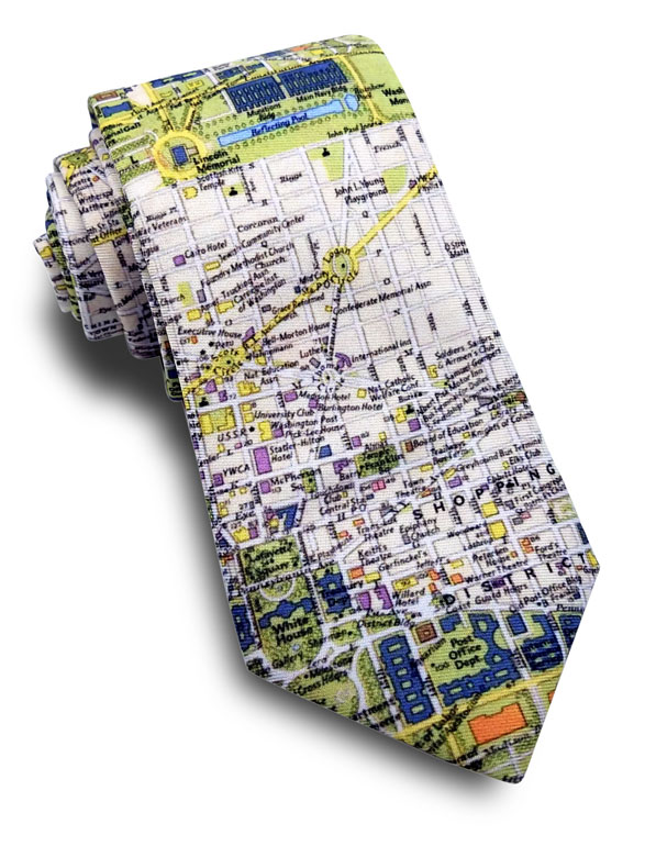 wdc city map neck tie