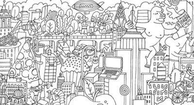 nyc coloring poster clip