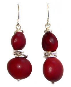 passion red and silver earrings