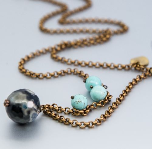 ball,chain and disk turquoise necklace