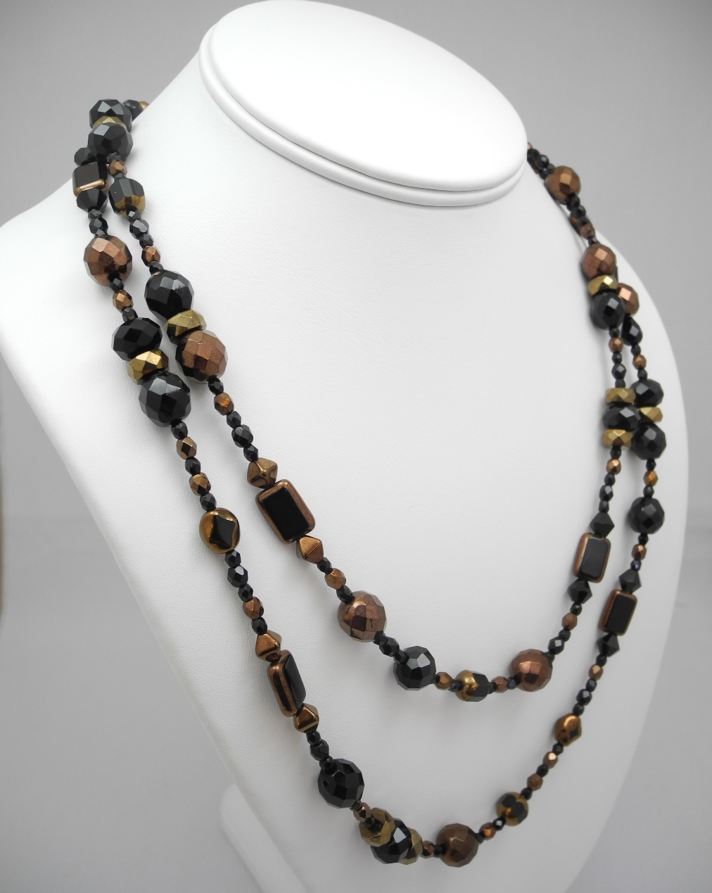 Black Glass Double Necklace upright