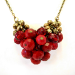 Valentine's Day Cluster Necklace in Red and Gold