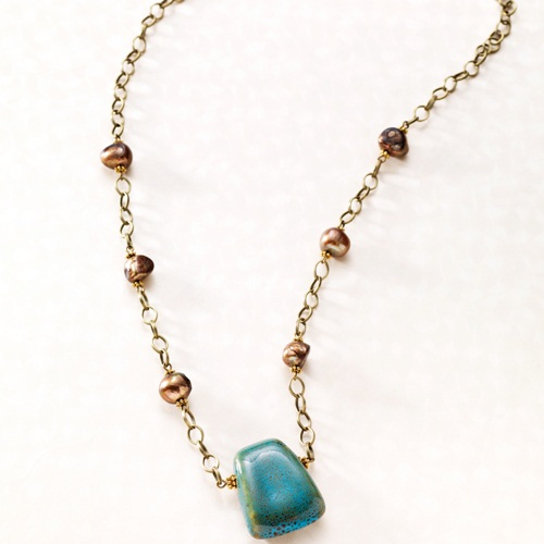 Turquoise Porcelain Necklace