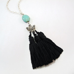Click here for more information about Black Three Tassel Pendant with Turquoise