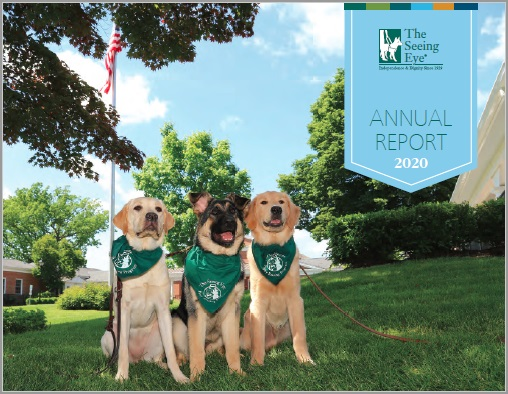 The cover of The Seeing Eye Annual Report 2020 shows three Seeing Eye dogs in front of the Main House at the Washington Valley campus.