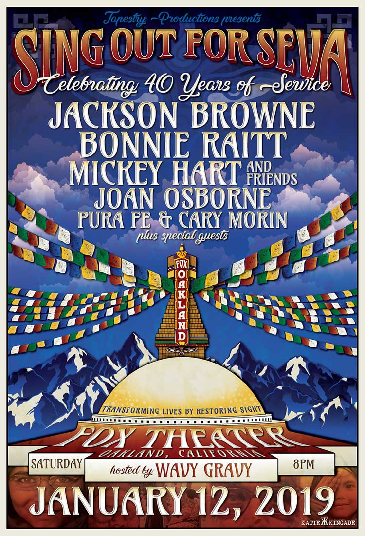 Jackson Browne, Bonnie Raitt, Mickey Hart and Friends, Joan Osborne, Pura Fe and Cary Morin! Saturday, January 12, 2019, 8:00 PM at The Fox Theater in Oakland