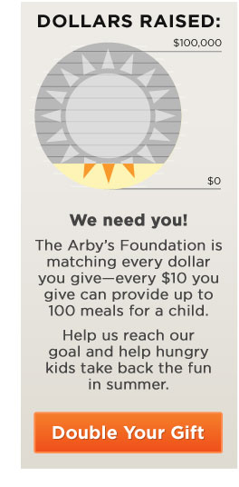 We need you! The Arby's Foundation is matching every dollar you give now. Every $10 you give can provide up to 100 meals for a child. Help us reach our goal and help hungry kids take back the fun in summer.