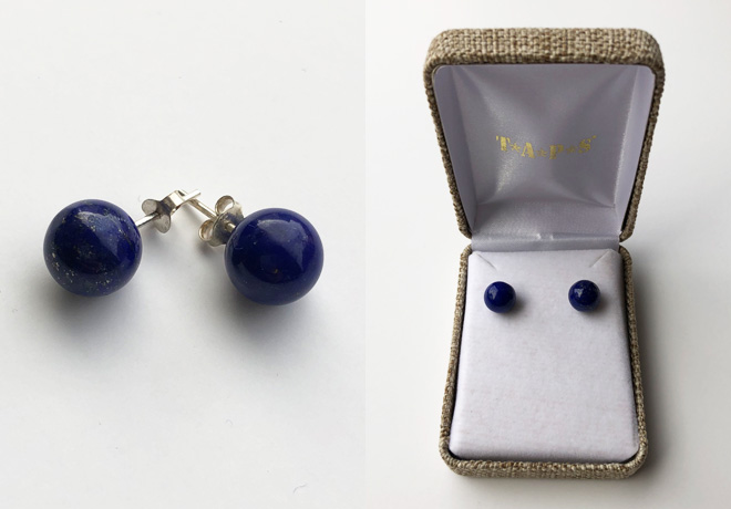 Round Lapis Post Earrings