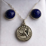 Click here for more information about Silver Bezel Earrings and Charm Necklace Set